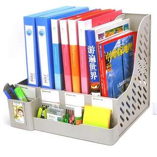 *BN* Brand New Grey Gray Neat Filing Organiser Magazine A4 Size File Folder Book Multipurpose Filing Cabinet Shelf W Photo Frame Stationery Paper Clip Scissors Notepad Post Slip Stapler Glue Highlighter Pen Holder