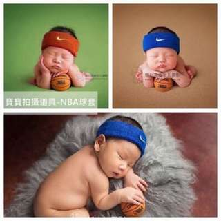 現貨新生兒嬰兒兒童寶寶攝影拍照寫真道具服飾滿月百天周歲頭帶頭套髮圈頭飾髮飾NIKE籃球NBA