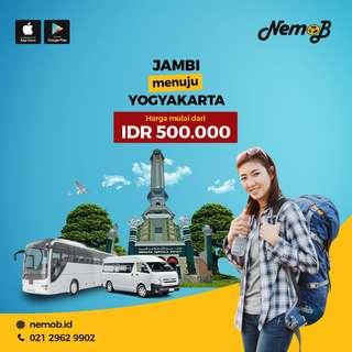 Promo tiket bus murah rute Jogja - Jambi dan sebaliknya. Hubungi NEMOB.