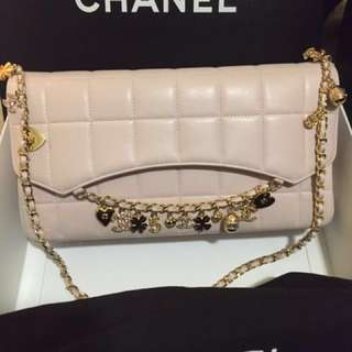 Chanel Classic Quilted Pink Leather Bag With Lucky Charms