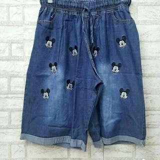 TAOO- 3 per 4 mickey xxl l celana pendek jeans wanita celana bigsize celana jumbo