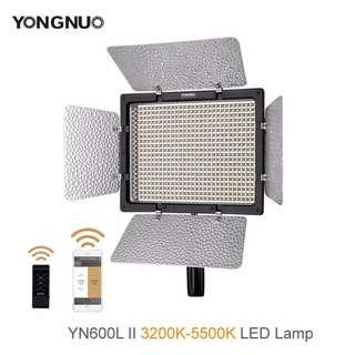 Yongnuo YN600L II w/ 2 batteries + charger, 3200K-5500K LED Video Light, Brand New