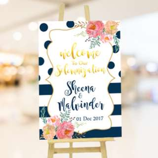 Wedding Entrance Signboard Annoucement Direction Board