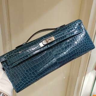 Hermes kelly cut crocodile x stamp