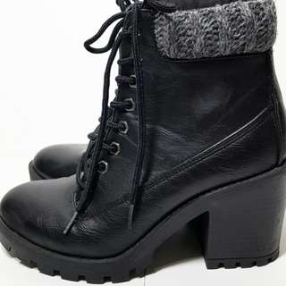 Laced heeled booties