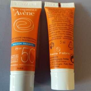 Avenue SPF50 emulsion samples