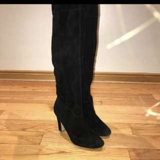 Real Suede Black Knee High Boots