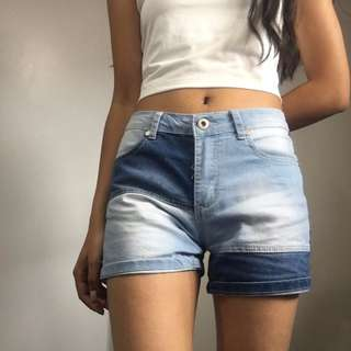 two toned denim shorts - size 8