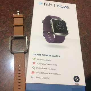 全新Fitbit Blaze 健身手錶 紫色 S碼 香港行貨 加原裝駱駝色皮帶