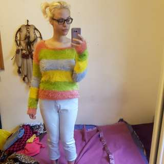 Rainbow fluffy jumper