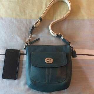 Like New Coach Hamilton Swingpack Crossbody Messenger Bag TEAL BLUE