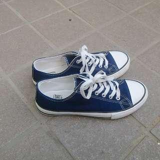 【韓國 SPAO】低筒帆布鞋/深藍色/牛仔色/#冬季衣櫃出清/#舊愛換新歡/#有超取最好買
