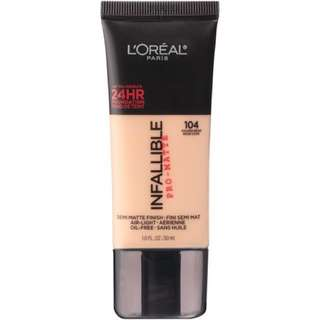 (104) Loreal Infallible Pro-Matte 24HR Foundation