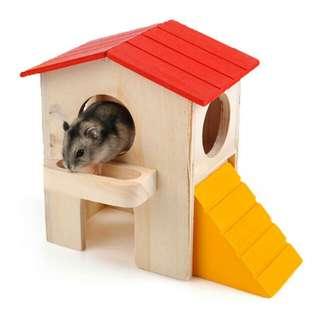 倉鼠房子 寵物鼠窩 小木屋 三線紫倉銀狐布丁老公公 紅頂別墅木屋
