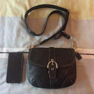 Like New PREOWNED Coach Soho Small Flap Swingpack Messenger Crossbody Sling Bag BLACK