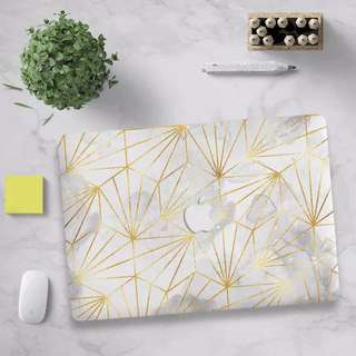Grey Watercolour gold triangle trimmings MacBook Hard Cover case