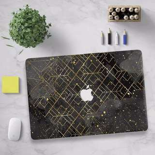 Black clouds gold prism abstract MacBook Hard Cover case