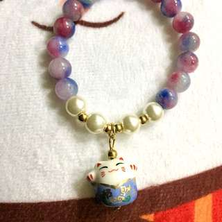 Maneki Neko (lucky/waving/fortune) CaT bracelet in vibrant blue violet