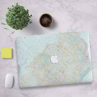 Blue Watercolour gold prism abstract MacBook hard cover case
