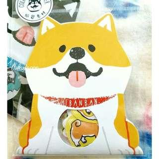 日本MW 橙色柴犬狗狗 紙質裝飾貼紙包 30枚