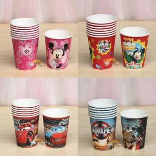 Children party paper cups (themed)