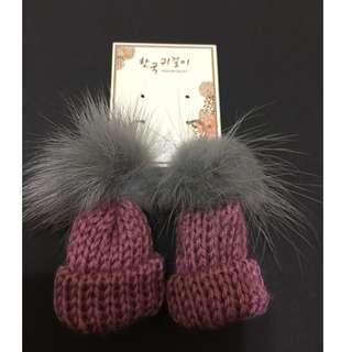 可愛俏皮韓風毛球粉紅毛線帽耳環