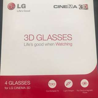 Authentic LG 3D cinema glasses (4 pcs, all black) made in Korea AG-F310