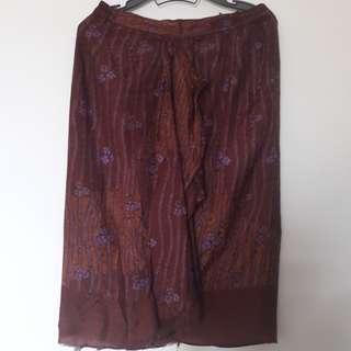 Brown Purple Flower Batik Skirt