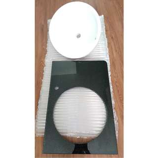 Semi-recessed basin and tempered glass 20mm plate