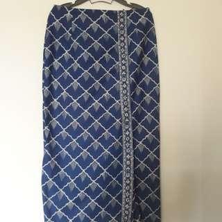 Blue White Batik Skirt full length