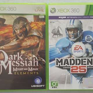 Madden and Dark Messiah Xbox 360 games ($15 each)