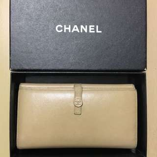 中古 Chanel Beige Wallet 長銀包 非 YSL Dior LV Gucci Valentino Prada
