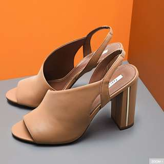 Leather Asymmetrical Camel Heels