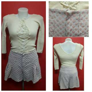 set for knitted top s-m shorts 25-26