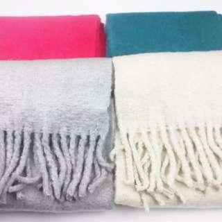 全新 日本帶回!超軟!單色毛呢流蘇圍巾