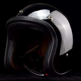 Gloss Black Motorcycle Helmet Open Face Three Button Snap Retro Vintage Vespa Scooter Cafe Racer Motorbike Leather Gloss Old School Harley Davidson