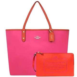🚚 COACH 桃紅色防刮皮革雙面托特包-附大型手拿包