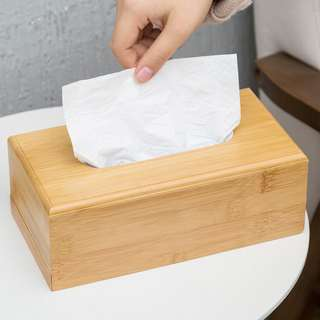 PO Nordic Style Wooden Bamboo Tissue Holder