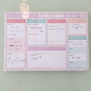 Daily Schedule Organiser Pad