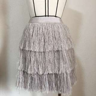 Lilac-grey fringe skirt