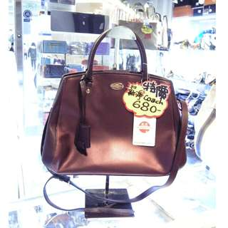 Coach Brown Red Leather Shoulder Hand Bag 啡紅色 牛皮 皮革 手挽袋 手袋 肩袋 袋