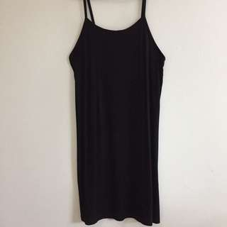 black ribbed slip dress