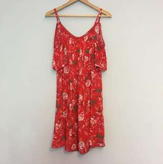 Lovely cold shoulder floral dress