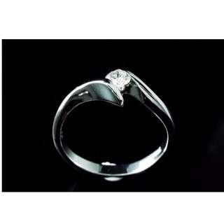 【D-W 香港鑽石世界】全新18K白金 15份 單粒天然鑽石戒指---000986-32