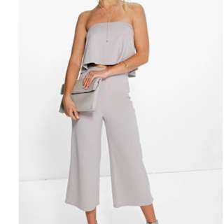 boohoo co od set in white and grey