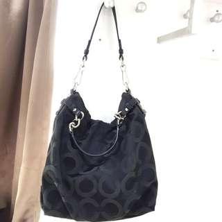 Coach Op Art Sateen Brooke Handbag (Black)