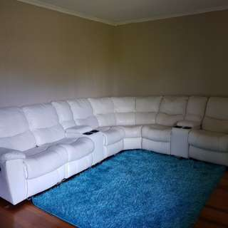 Leather couch - genuine Italian leather - 6 seater / price negotiable