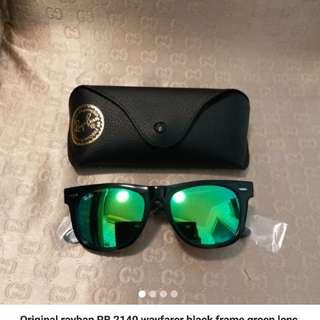 Original Rayban Model no. RB-2140 Wayfarer (Black frame, Green Lens)