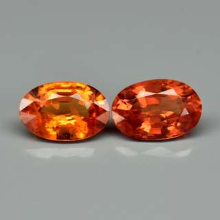 Pair 2pcs/0.92ct t.w Oval Natural Orange Sapphire
