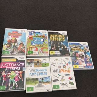 X box 360, WII and DS lite games